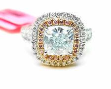 GIA 2.02ct Natural Argyle 6PP Light Blue & Pink Diamonds Engagement Ring 18K
