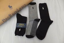 RALPH LAUREN Ladies 3 Pair Black Houndstooth Crew Socks BNWT One Size