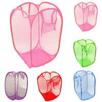 Foldable Pop Up Washing Laundry Basket Bag Hamper Mesh Dirty Clothes Storage Bag