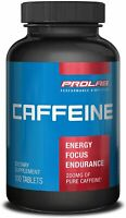 PROLAB Caffeine Supplement 200 mg 100 Tablets SEALED QUICK ENERGY