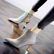 Womens Glitter Rhinestones Ankle Riding Boots High Heels Pointed Toe Stilettos