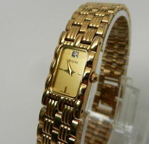 Womens Ladies Swiss Bulova Gold Diamond Bracelet Petite Rectangular Watch 97P13