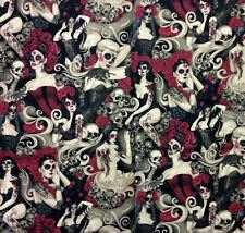 AH242 Las Elegantes Sexy Pin Up Girls Goth Steampunk Skull Tattoo Cotton Fabric