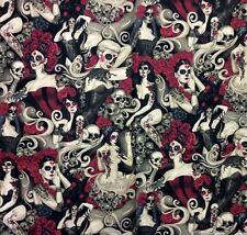 AH242 Las Elegantes Sexy Pin Up Girls Goth Steampunk Skull Tattoo Cotton Fabric