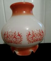 Ancienne lampe  globe opaline orange 60 70  vintage abat-jour suspension lustre