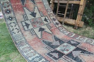 "12x3 Vintage Handmade Turkish  Oushak Runner Rug 150""x44"",382x113cm"