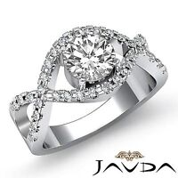 Shared Prong Round Diamond Engagement Curve Shank Ring GIA F SI1 Platinum 2ct