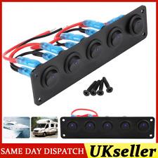 12v/24v 5 Gang LED Rocker Switch Control Panel RV Caravan Camper Car Boat Yacht