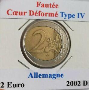 Monnaie Fautée 2 Euro Allemagne 2002 D Coeur déformé