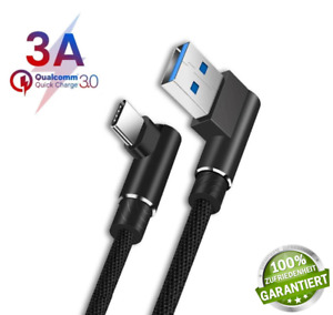 USB C 3A Kabel Handy Daten Ladekabel gewinkelt 90°Winkel Stecker Quick Charge⚡⚡