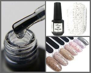NailApex Point Top Coat Black Confetti Top Cover Kroshka No Wipe Nail Art 15 ml