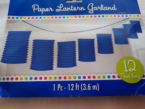 BLUE PAPER ACCORDIAN HANGING GARLAND 3.65M PARTY BIRTHDAY  HALLOWEEN FREE P & P