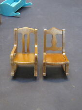 Vintage child's doll house wood furniture-rocking chairs, 1 with arms- USA