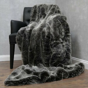 Kuscheldecke Fellimitat Wohn Sofa Decke Webpelz Hochflor 150x200cm Silber Fuchs