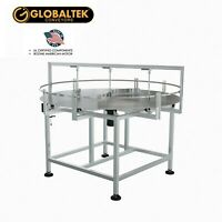 GLOBALTEK 60 Dia Stainless Steel Enclosed Frame Accumulating Rotary Table with Unscrambler Attachment