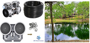 LARGE Pond Aerator System w/50' WTD Hose-2 Weighted Diffusers NEW 1/2hp Pump
