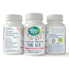 Organic Acai Berry 500mg Capsules • Certified Organic Acai Powder • Diet Aid