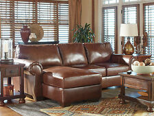PALACE Traditional Living Room Furniture Brown Leather Couch Sofa Sectional Set