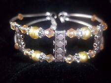Hot Fashion Jewelry Tibetan Silver Peach Crystal & Green Bead Bracelet B-70