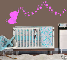 Cutie Elephant Bubbles Wall Decal Vinyl Wall Nursery Room Decor Gift 3a