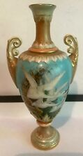 Beautiful Royal Worcester Vase Decorated With Flying Swans Signed C. Baldwyn