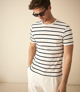 Brand New ex Reiss Denby Ecru Navy Striped Marl T-Shirt Tee RRP £45 Sizes XS-XL