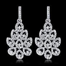 LK _ Brillante Diamante Imitacion HUECO Pétalos Pendientes de gota mujer joyería