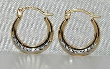 9ct Yellow & White Gold Creole Hoop Earrings