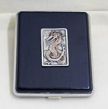 100 mm Black Leather 20pcs Cigarette Case/ID Holder- Dragon Pewter Panel