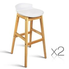 2x Oak Wood Bar Stools Wooden Barstool Dining Chairs Kitchen Plywood White 3621