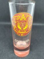 Cozumel Mexico Tall Shot Glass Mayan Calendar Symbol with red  base