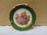 "Vintage miniature Limoges Castel porcelain plate Couple playing guitar France 1"""