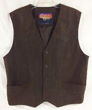 Cripple Creek Men Large Suede Leather Dark Brown Button Lined Vest Western EUC!