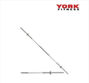 YORK 6FT SPINLOCK SOLID CHROME BAR WITH COLLARS (FREE SHIPPING)