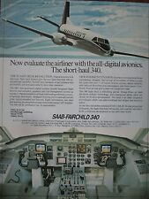 8/1982 PUB AVION SAAB FAIRCHILD 340 AIRCRAFT DIGITAL AVIONIC COCKPIT ORIGINAL AD
