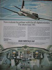 8/1982 PUB AVION SAAB FAIRCHILD 340 AIRCRAFT DIGITAL AVIONIC COCKPIT ORIGINAL AD