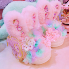 Women Cute Rhinestone Fur Furry Slip On Slippers Flats Loafer Casual Shoes Warm