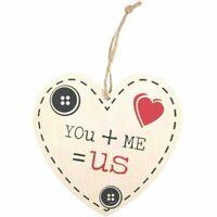 You Me Us Sign Love Heart Wood Wall Door Valentines Wedding Romantic Plaque Gift