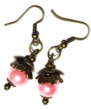 Pink Pearl Earrings Antique Bronze Style Pierced Hook Bead Dangle Boho Hippy