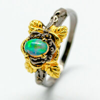 18k Gold Plated Fashion Natural Gemstone Opal 925 Sterling Silver Ring / RVS127