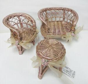 OOAK Miniature Wicker Furniture for DOLL or Beanie Babies -PRISTINE, Brand New
