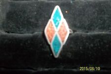Sterling Silver Native  Crushed Turquoise Coral Mosaic Ring triangle 6 . 5 *