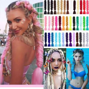 Coloured Jumbo Braiding Hair Extensions Braids Twist Hight Temperature Kanekalon