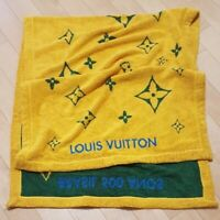 Louis Vuitton Beach Bath Towel Caba Brazil Monogram Yellow Green Cotton New Rare