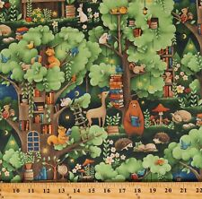 Cotton Woodland Animals Books Library Forest Fabric Print by the Yard D563.56