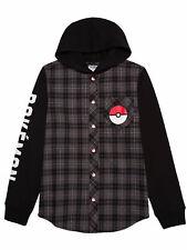 Boys Pikachu Pokemon Hooded Flannel Long Sleeve Shirt