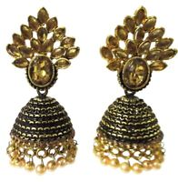 Indian Bollywood Style Gold Tone Ethnic Kundan Pearl Jhumka Jhumki Earring  Set