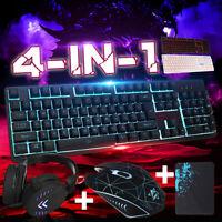 Colorful Mouse Gaming Keyboard LED Illuminated Backlit USB Wired PC Rainbow US