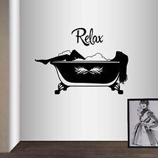 Vinyl Decal Relax Sexy Woman Girl Take Bath Bathroom Spa Wall Sticker Decor 2490