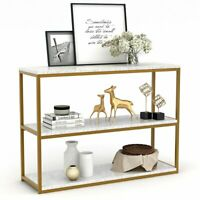Sofa Entry Table with Gold Metal Frame for Home Creamy White 3Tier Console Table